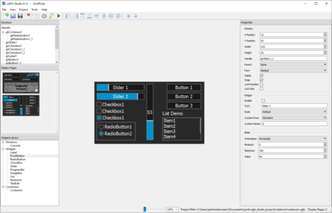 uGFX-Studio is an interactive drag-n-drop GUI designer